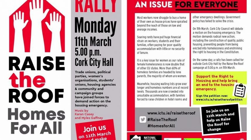 Raise the Roof Rally Cork City Hall 11th March 2019 5.00pm